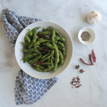 edamame beans with spice.
