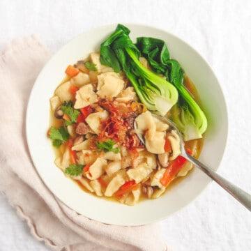 Hand toen noodle soup with veggies.