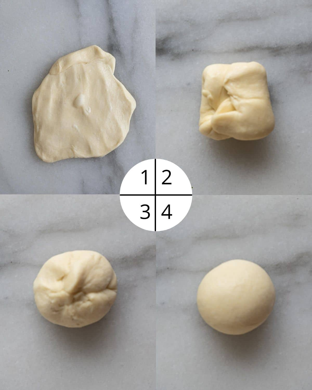 process shot of shaping a dough ball.