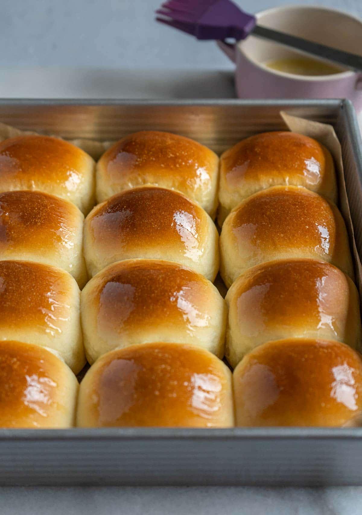 milk buns in baking pan.