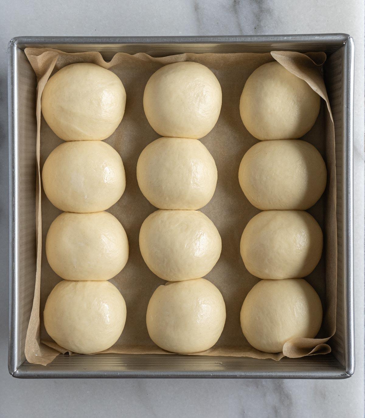 milk bun dough after second proof.