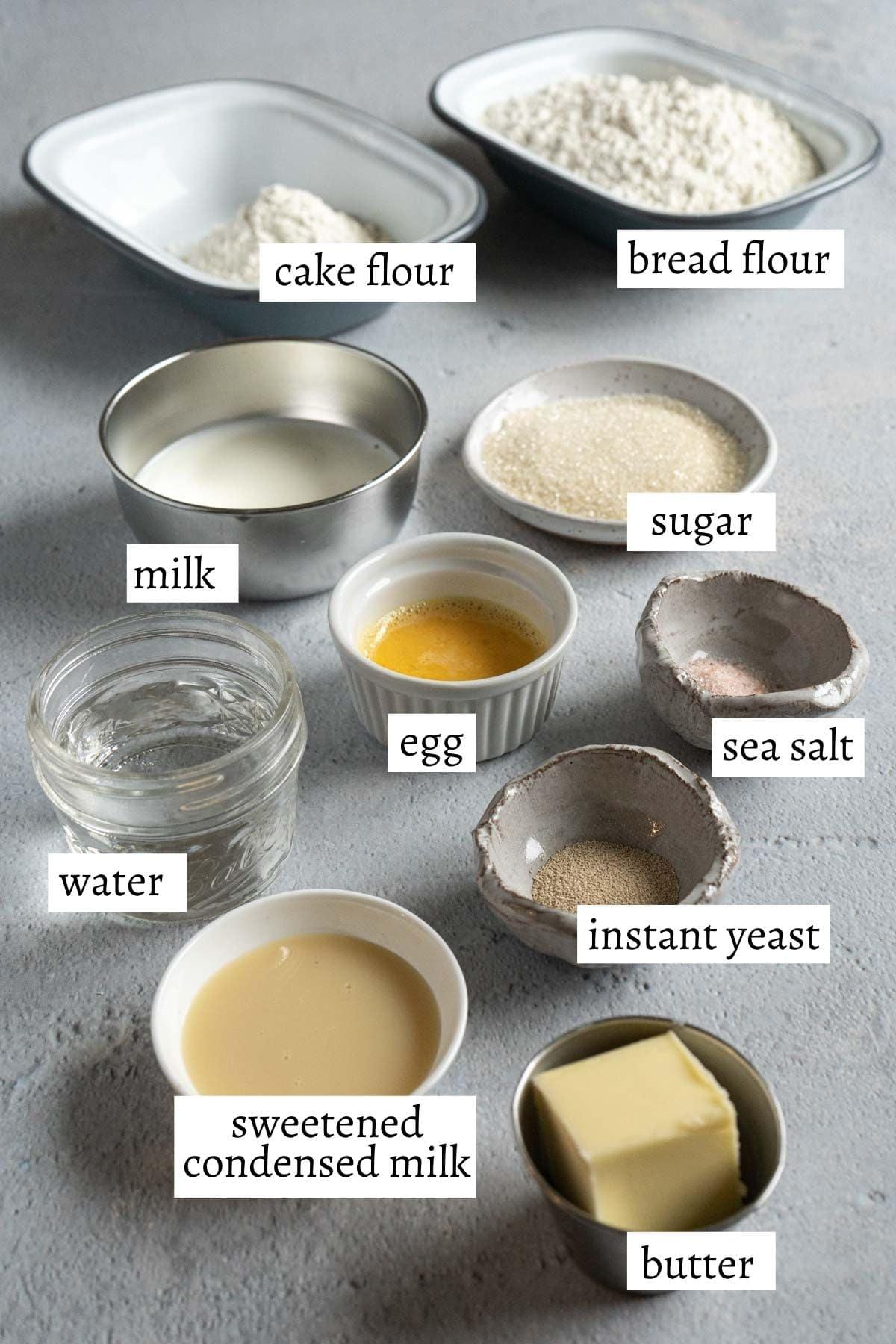 ingredients for making milk bun.