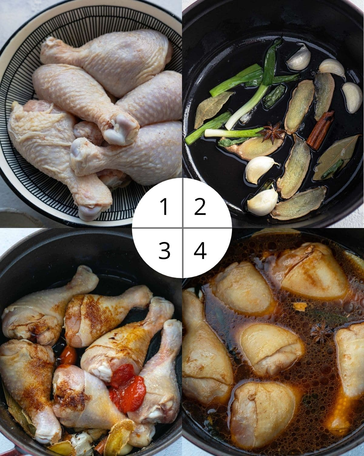 Process shots of Chinese chicken noodle soup.