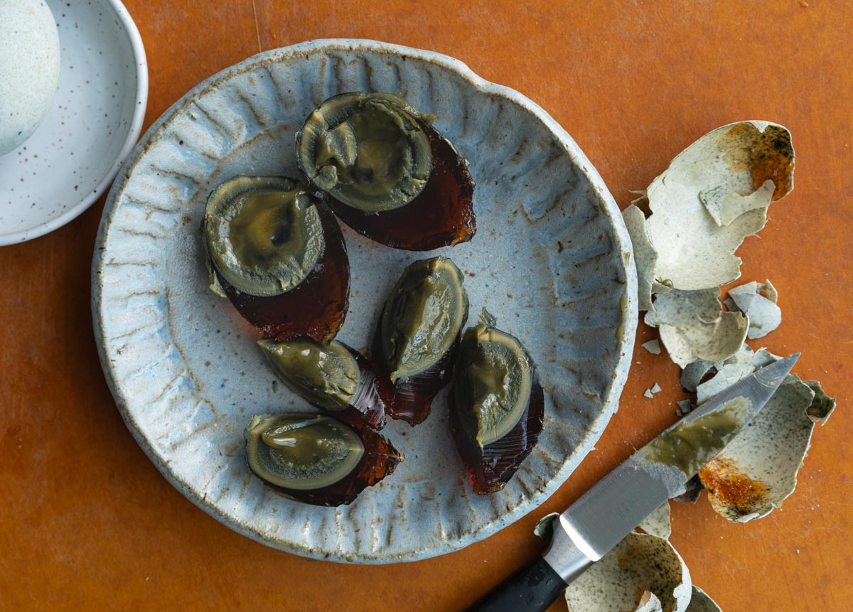 century egg on a plate.