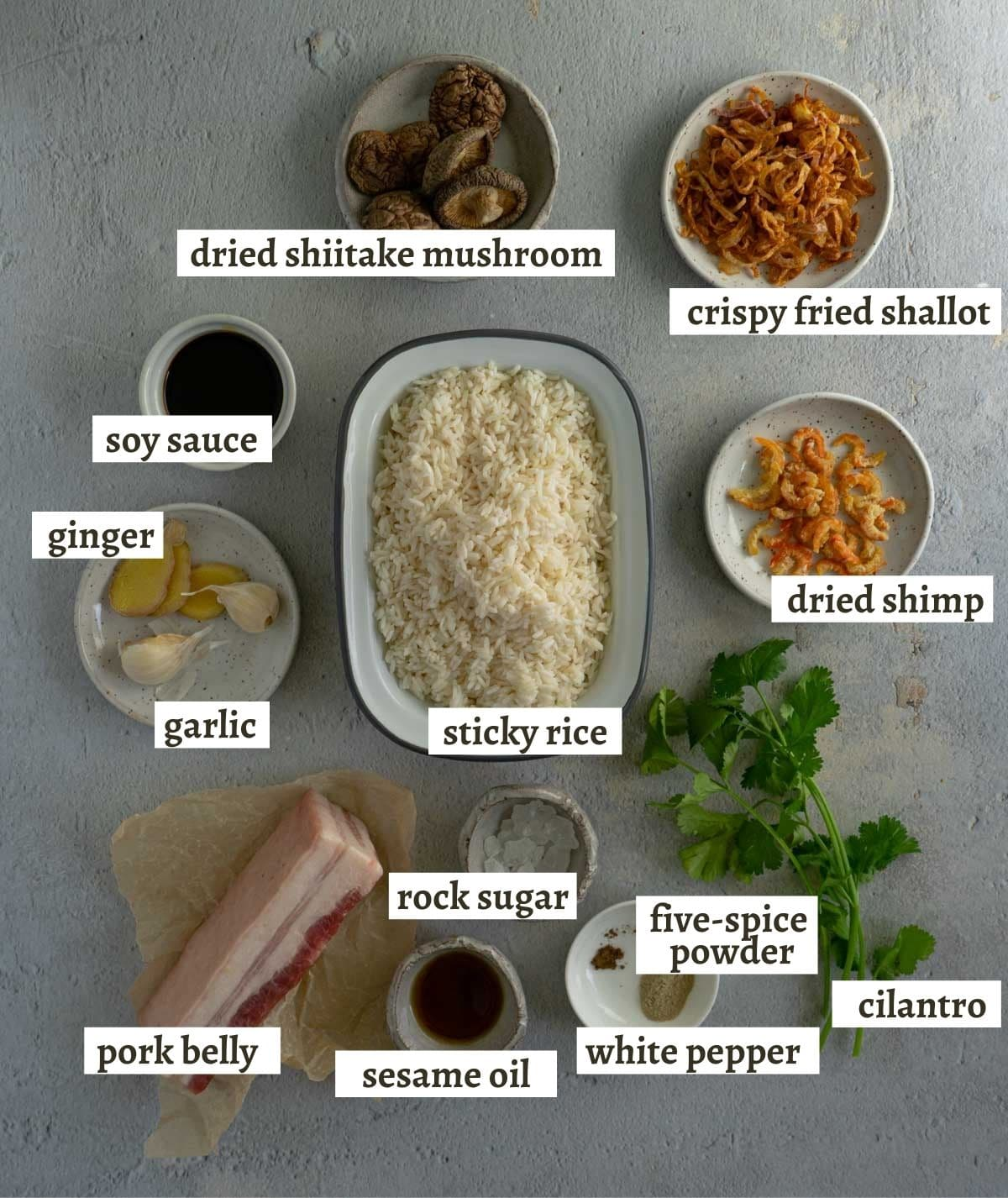 The ingredients for making Taiwanese sticky rice (you fan).