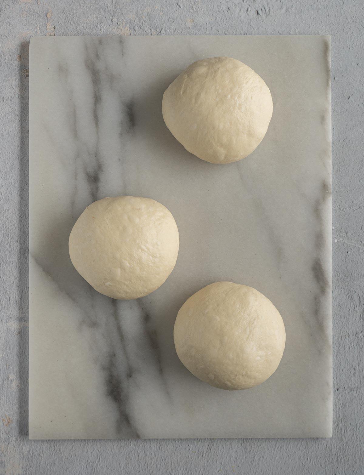 Milk bread dough divide into 3.