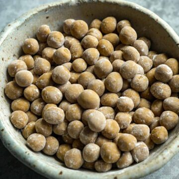 a bowl of uncooked brown sugar boba.