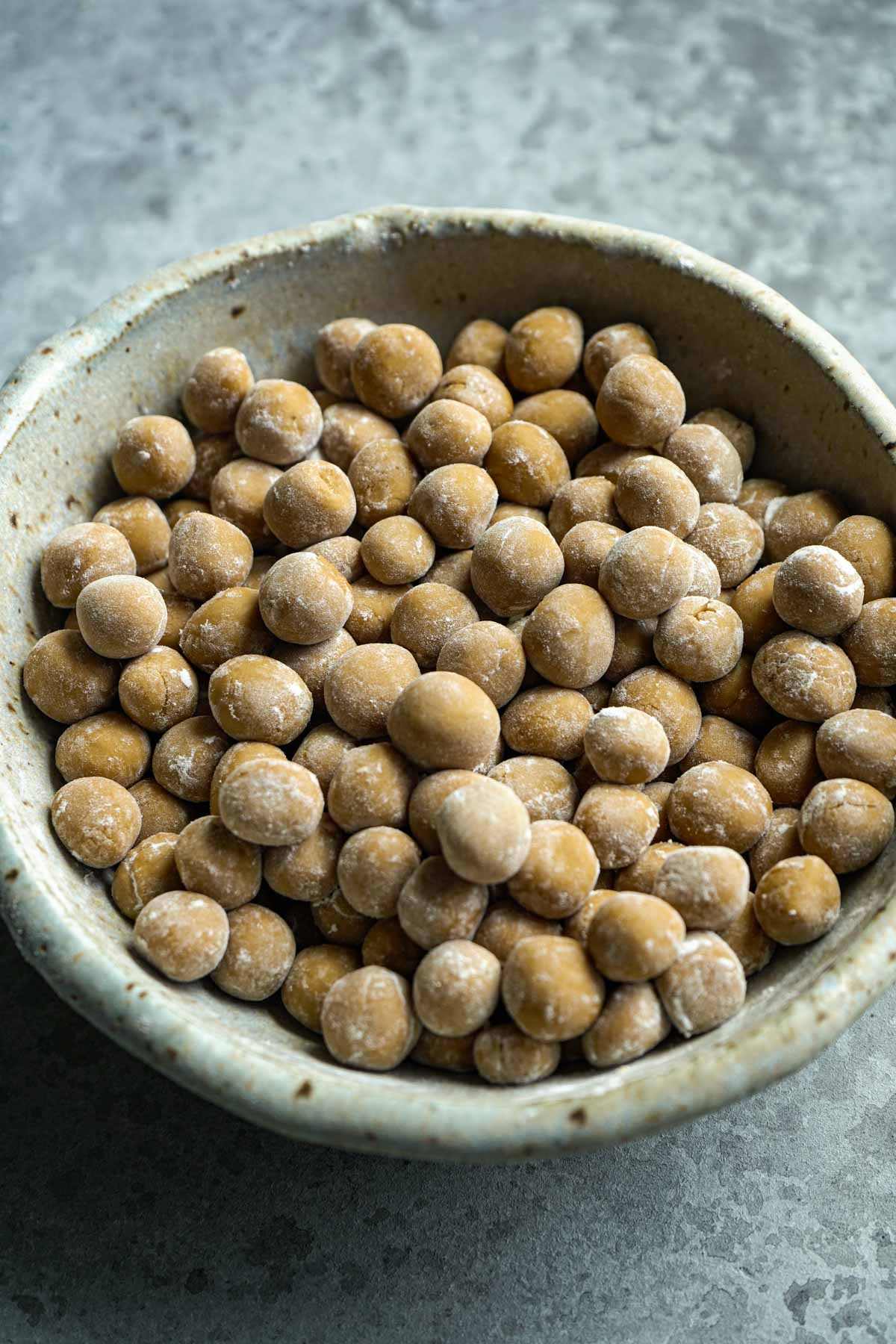 Dried boba pearl in a bowl.