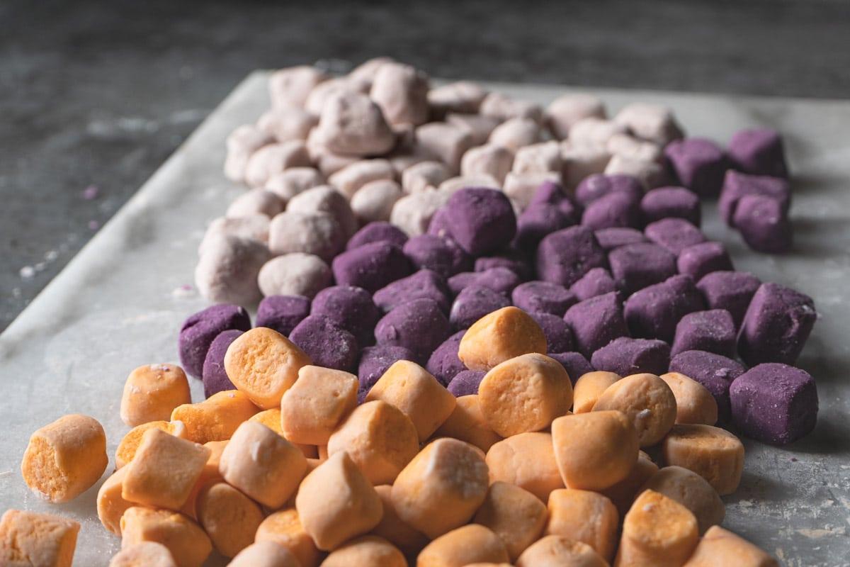 Final product of taro and sweet potato balls.