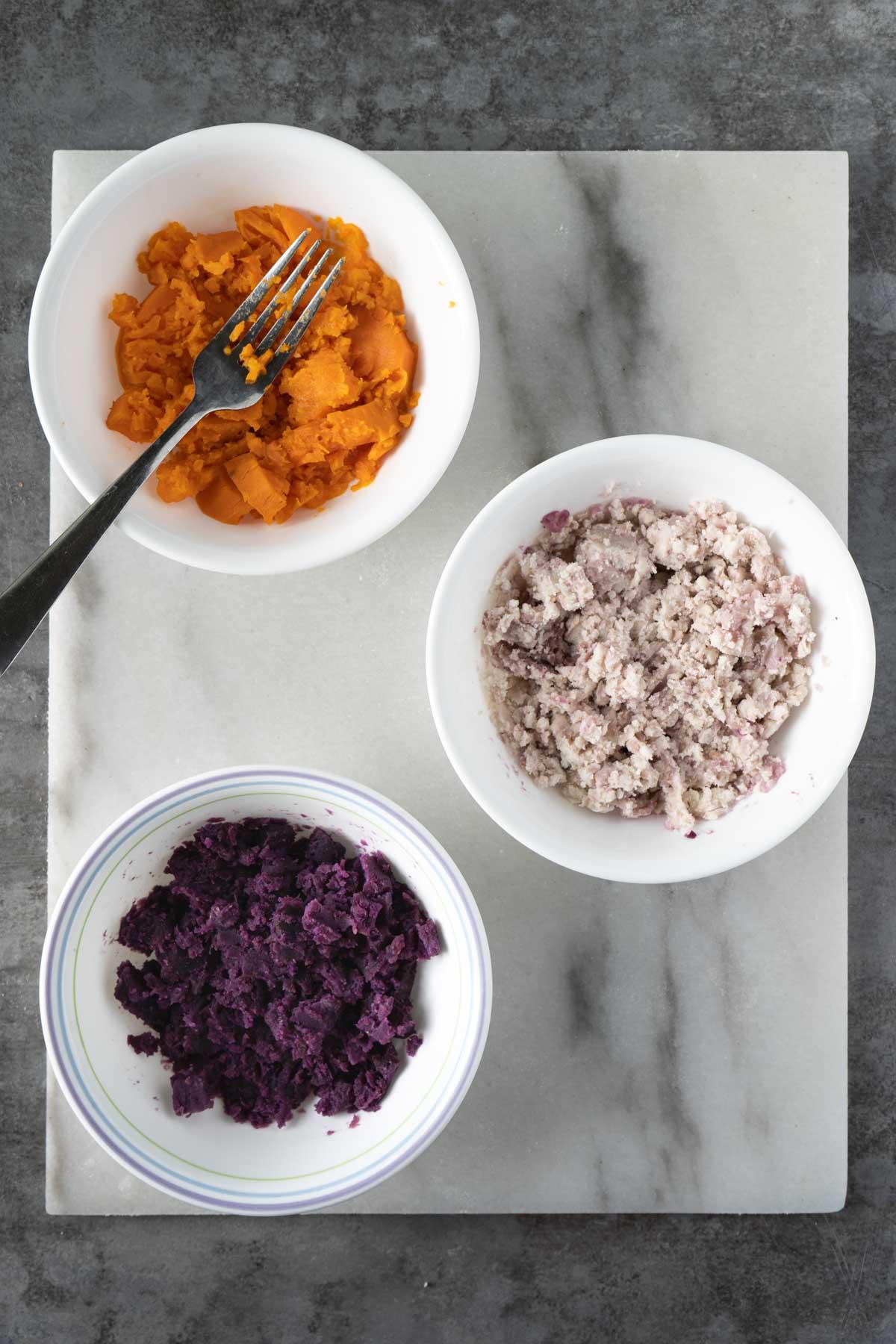 Mashed sweet potato, taro and purple sweet potato.