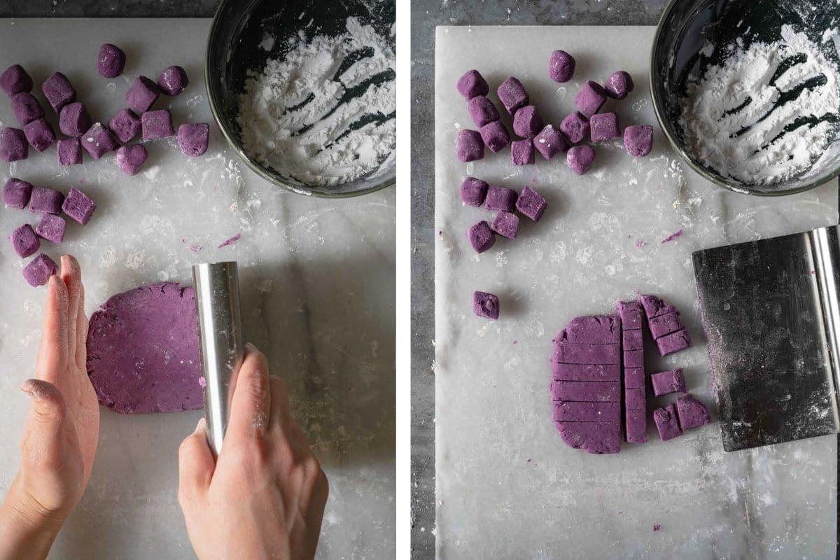 Cutting purple sweet potato balls.