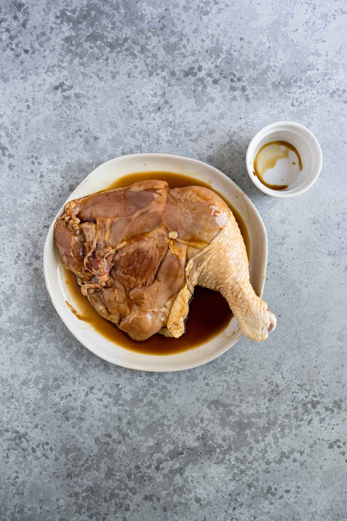 Whole chicken leg marinated in soy sauce.