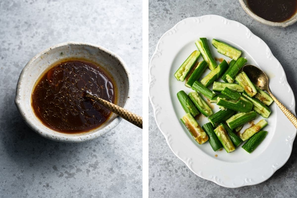 A bowl of dressing and a plate of cucumber.