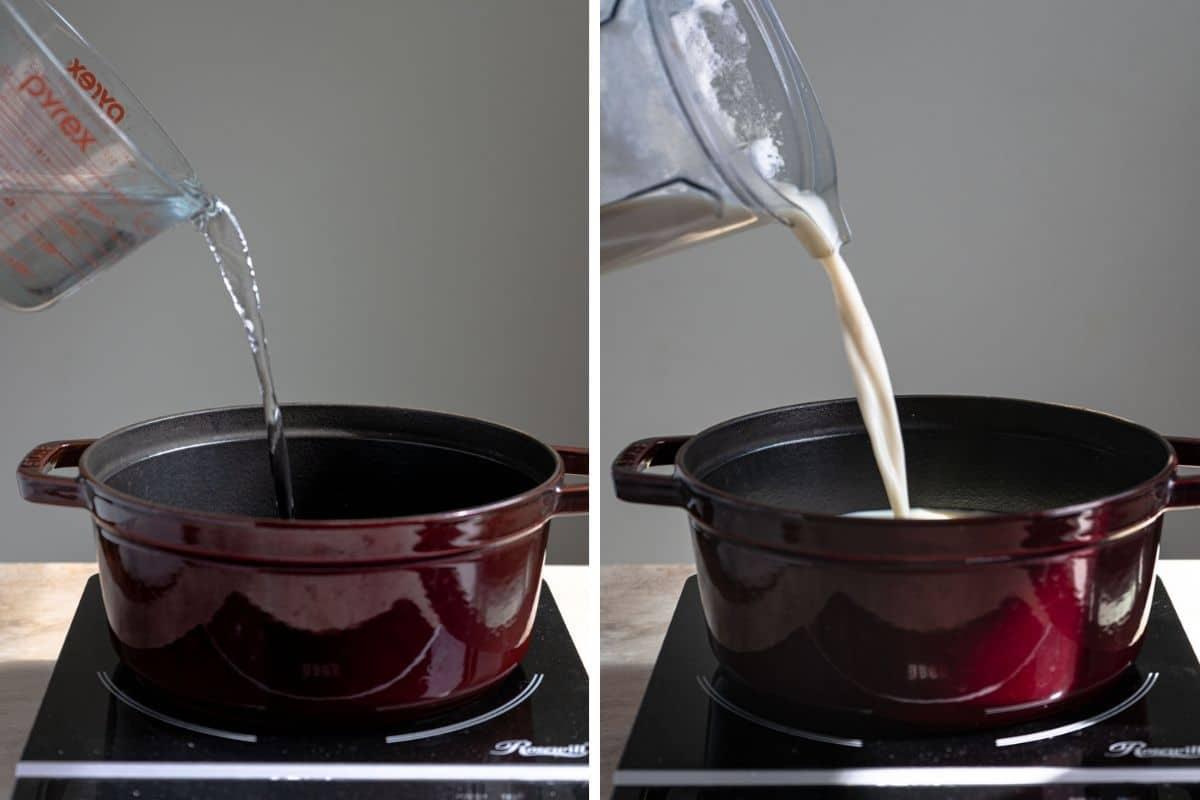 Poring liquid in a Dutch oven.