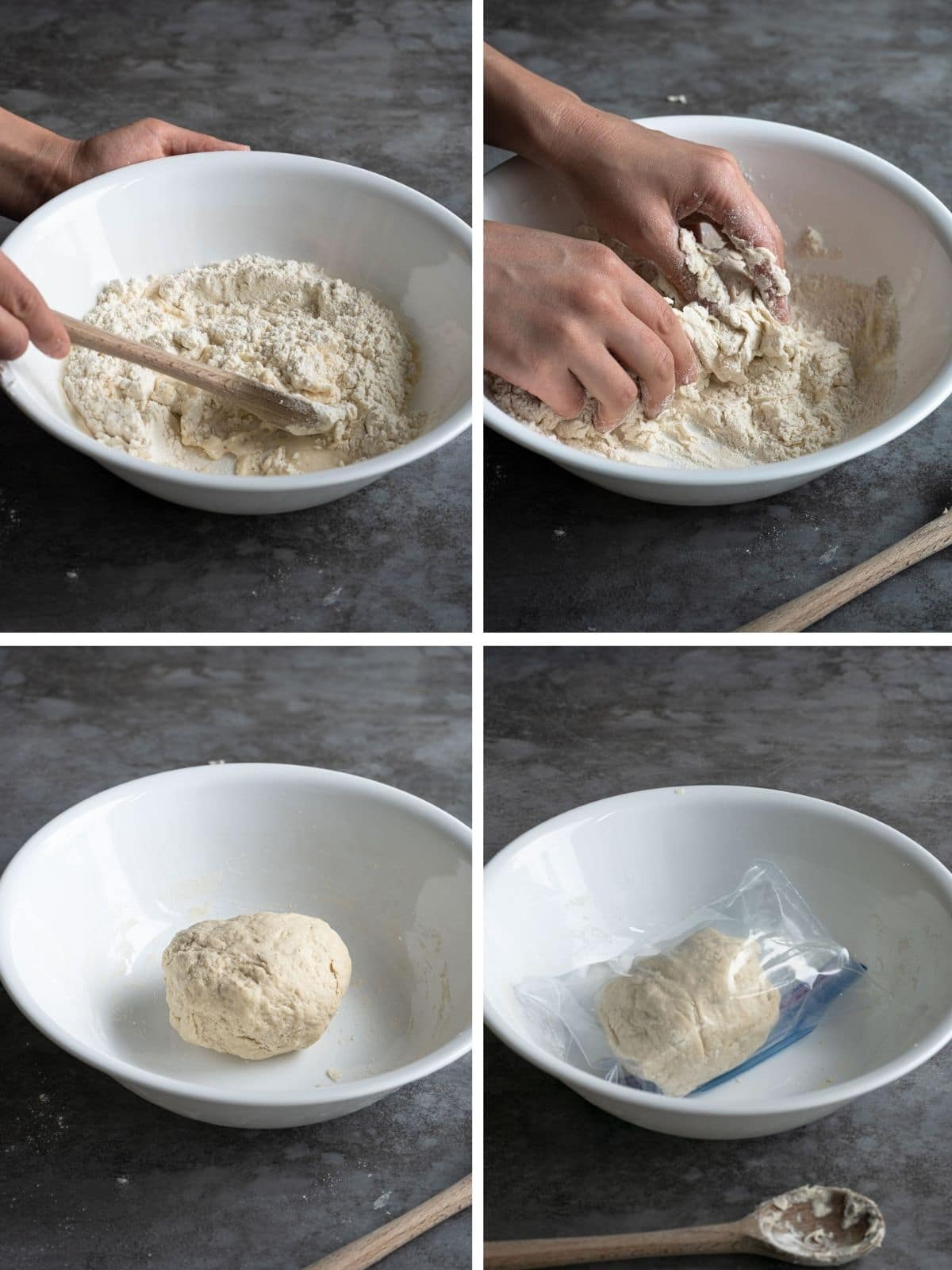Making noodle dough process shot.
